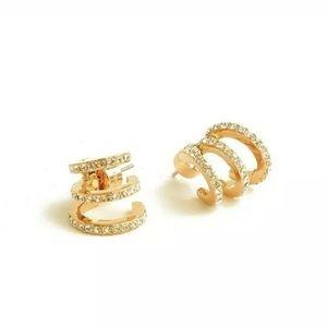 Michael Kors gold crystal huggie hoop earrings